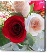 Red And Cream Tea Roses In Crystal Canvas Print