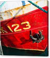 Red And White Boat Detail Canvas Print