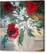 Red And White Flowers By Ralph Canvas Print