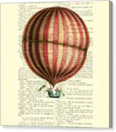 Red And White Striped Hot Air Balloon Antique Photo Canvas Print