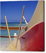 Red And Yellow Canoe Canvas Print