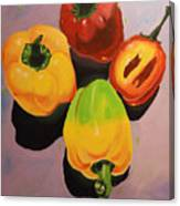 Red And Yellow Peppers Canvas Print