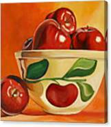 Red Apples In Vintage Watt Yellowware Bowl Canvas Print