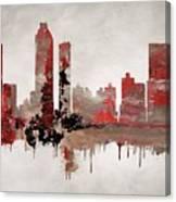 Red Atlanta Georgia Skyline Canvas Print