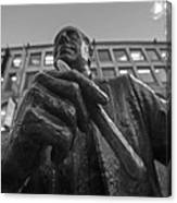 Red Auerbach Chilling At Fanueil Hall Black And White Canvas Print