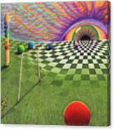Red Ball Considers The Wicket Canvas Print