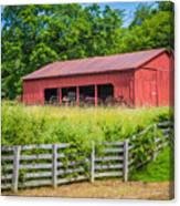 Red Barn Along The Fence Canvas Print