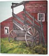 Red Barn And Cattle Ramp Canvas Print