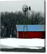 Red Barn And Windmill Canvas Print