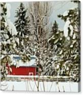 Red Barn At Christmas Canvas Print