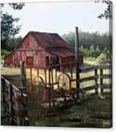 Red Barn At Sunrise Canvas Print