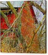 Red Barn Behind The Trees Canvas Print