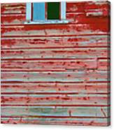 Red Barn Broken Window Canvas Print