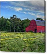 Red Barn In A Yellow Field  Canvas Print
