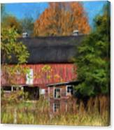 Red Barn In October Canvas Print