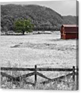 Red Barn In Pasture Canvas Print