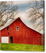 Red Barn In The Blue Sky Canvas Print