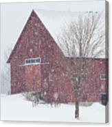 Red Barn Nor'easter  Canvas Print