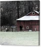 Red Barn On The Drive Canvas Print