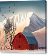 Red Barn Snow Western - Countryside Painting Canvas Print