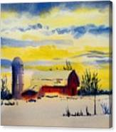 Red Barn Sunrise Canvas Print
