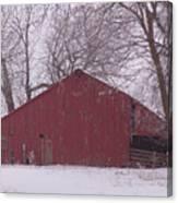 Red Barn Trees Snow Canvas Print