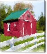Red Barn Vermont Watercolor Canvas Print