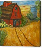 Red Barn- Wheat Field- Down Home Canvas Print