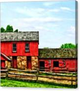 Red Barn With Fence Canvas Print