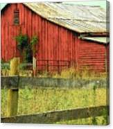 Red Barn With Vines Canvas Print