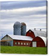 Red Barns Of 3 Canvas Print