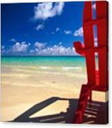 Red Beach Chair Canvas Print