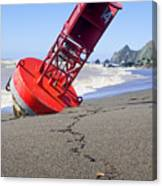 Red Bell Buoy On Beach With Bottle Canvas Print
