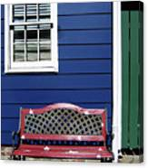 Red Bench Blue House Canvas Print