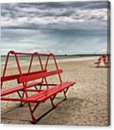 Red Bench On A Beach Canvas Print
