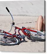 Red Bike On The Beach Canvas Print