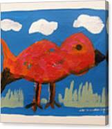Red Bird In Grass Canvas Print