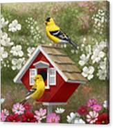 Red Birdhouse And Goldfinches Canvas Print