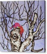 Red Birds On A Withered Tree Canvas Print
