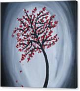 Red Black Tree Painting Canvas Print