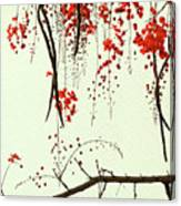Red Blossom Tree On Handmade Paper Canvas Print