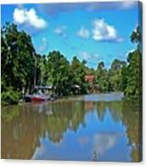 Red Boat And The Magnolia River Canvas Print