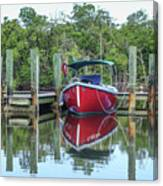 Red Boat Docked Florida Canvas Print