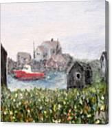 Red Boat In Peggys Cove Nova Scotia  Canvas Print