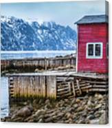 Red Boathouse In Norris Point, Newfoundland Canvas Print