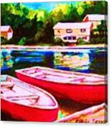 Red Boats At The Lake Canvas Print