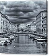 Red Bridge Canal Canvas Print
