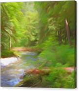 Red Bridge In Green Forest Canvas Print