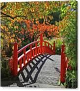 Red Bridge With Shadows Canvas Print