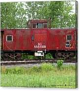 Red Caboose In The Rain Canvas Print